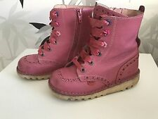 Girl's Kickers Boots Size EU29/UK11, Pink With Ribbon Laces