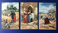 """""""Our Father Prayer"""" on 3 Antique Religious Postcards. 1900's. Collector Items"""