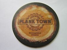 Beer Brewery Coaster ~*~ PLANK TOWN Brewing Co ~ Springfield, OREGON ~ Wood Cut!
