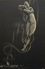 "CHARLES PONT Original Modern Wood Engraving Woodcut Female Nude ""Transition"""