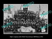 OLD POSTCARD SIZE PHOTO POLAND MILITARY POLISH NAVY ORP BURZA SHIPS CREW c1944