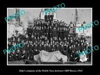 OLD POSTCARD SIZE PHOTO POLAND MILITARY POLISH NAVY ORP BURZA SHIPS CREW c1944