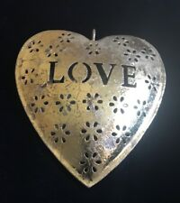 Valentine Heart Shaped Hanging Ornament Gold Hollow Cutout Flowers Love 5