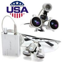 *USA* Dental Surgical Medical Binocular Loupes 3.5X 320mm + LED Head Lamp light