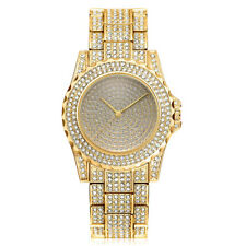 Lady Casual Crystal Rhinestone Gold Quartz Wrist Watch Stainless Steel Band
