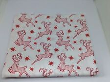 Christmas Red Reindeer on White Fabric. 1M X 112cm.