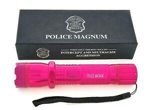 POLICE MAGNUM Pink Rechargeable Metal Stun Gun 68, 000, 000 Volt with Flashlight