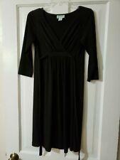 Motherhood Maternity 3/4 Sleeve Little Black Dress Rayon Spandex Faux Wrap Small