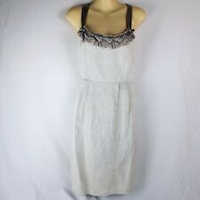 Sz M 10 JACQUI E Silk Linen Cotton Nude Beige Sparkly Glitter Formal Party Dress