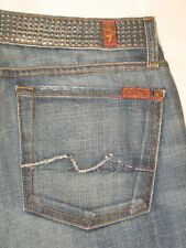 7 for all Mankind Women Bootcut jeans Embellished Chrome Waist 100% Cotton Sz 28
