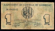 210-INDALO- Ajuntament de Cornella de Llobregat. 1 Peseta Mayo 1937. MBC- !!!!!!