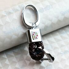 Leather Gift Decoration For CADILLAC Emblem Logo Key Chain Ring Brown BV Style