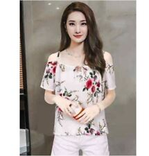 Women Off Shoulder Chiffon Blouse (Cream)