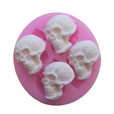 6cm 4 Skull Reusable Silicon Soap Fondant Icing Chocolate Mold UK Stock