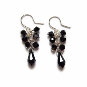 Handmade Black & Silver Crystal Cluster Earrings Made with Swarovski