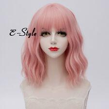 Fashion Light Pink Curly Lolita Cosplay Heat Resistant 35CM Medium Girls Wig