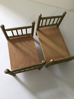 Vintage Large Scale Doll Bed Set 2 Miniature Dollhouse Room Display A8