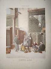 Gravure 19° 1899 couleur Peinture L. Deutsch: La leçon école coranique orient