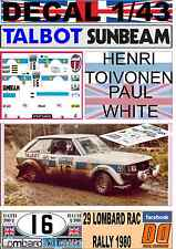 DECAL 1/43 TALBOT SUNBEAM LOTUS HENRI TOIVONEN RAC RALLY 1980 WINNER (01)
