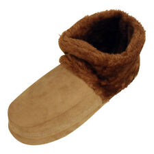 Womens Mens Dunlop Furry Ankle Boot Bootee SLIPPER Ladies Eskimo Slippers Chestnut S ( UK 7 - 8 )