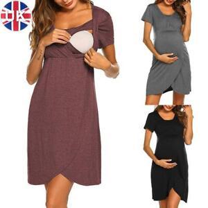 Pregnant Women Maternity Nursing Dress Casual Short Sleeve Breastfeeding Dress