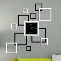 Mirror Style Removable Decal Art Mural Wall Clock Sticker Home Room DIY Deco Lot