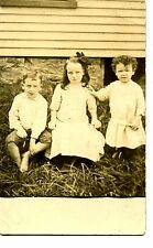 Children-Siblings-Picture Outside by House-RPPC-Vintage Real Photo Postcard