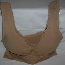 GENIE Bra XL/1XL Beige Nylon Spandex Removable Pads Seamless Bra With Lace