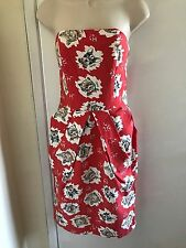 NWOT$318 Anthropologie MANOUSH red strapless linen red dress 36EUR, fits 2-4, S