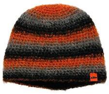 KTM Häkelmütze schwarz/grau/orange Wollmütze Alpaka Mohair warm weich Winter NEU