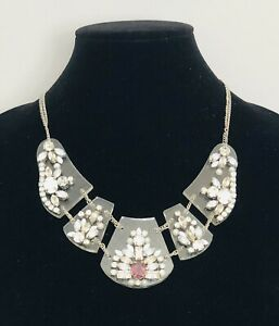 Accessorize Statement Necklace Collar Length Diamante Faux Pearl Silver Tone