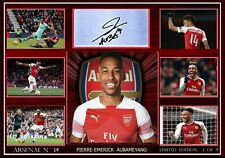 PIERRE AUBAMEYANG ARSENAL A4 Framed Canvas Tribute Print  Signed