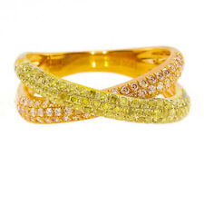 Real 1.12ct Natural Fancy Yellow Diamonds Engagement Ring 18K Solid Gold 6G