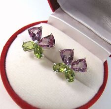 PERIDOT & VIOLET TOPAZ  EARRINGS 6.95 CTW - WHITE GOLD over 925 STERLING SILVER