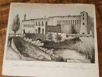 1 Engraving - VEDUTA DEL CASTELLO DI PAGAZZANO NELLA PROVINCIA DI BERGAMO 1800s