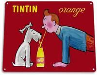 Tintin Orange Drink Soda Cola Kitchen Cottage Bar Retro Label Metal Decor Sign
