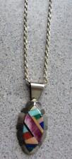 """ZUMI Multi Stone Silver Pendant on 19'"""" Chain"""