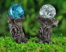 Miniature Fairy Garden Stump Gazing Ball w pick set 2 Faerie Gnome Go 17279