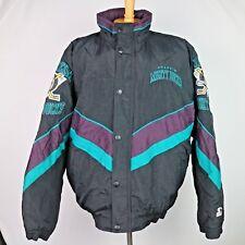Vintage Mens Mighty Ducks of Anaheim NHL Starter Jacket Black Purple Green Large
