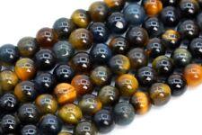 "4MM Natural Yellow Blue Tiger Eye Beads Grade AA Round Gemstone Loose Beads 15"""