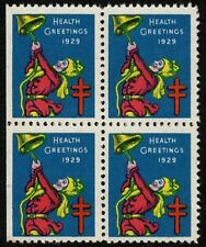 1929 WX50 Ringing Bell/Health Block of 4 US Christmas Holiday Seal OG MNH VF-XF