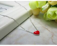 Rose Gold  Sterling Silver Red Enamel Puff Love Heart Pendant Necklace Gift PE20