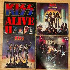 Lot of 4 KISS Albums Records - Alive II - Destroyer - Love Gun - Alive!