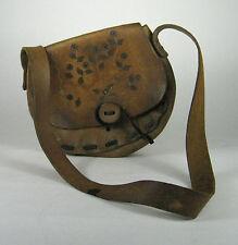 Handbag Brown Leather Shoulder Purse Boho Hippie Distressed VTG 60 1970 Stitch