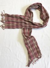 Pink And Tan Plaid Thin Crinkle Scarf With Fringe Trim By Banana Republic EEUC