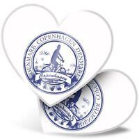 2 x Heart Stickers 10 cm - Copenhagen Denmark Danish Travel  #5934