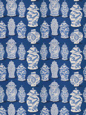 STUNNING CHINOISERIE JINGER JARS VASES TOILE COTTON FABRIC 10 YARDS COBALT BLUE