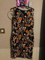 Minuet Petite Black/Orange Print Linen Pencil Dress Size 8