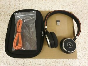 Jabra Evolve 65 Bluetooth Headset With Cable, Case & USB Dongle Link 370 UC