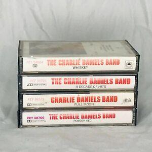 Lot of 4 Charlie Daniels Band Cassette Tapes Powder Keg Full Moon Whiskey Hits